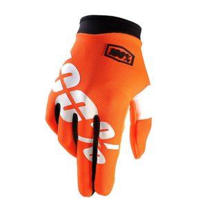 Guanti Bambino 100% I Track Glove Arancio Fluo Bianco Tg S